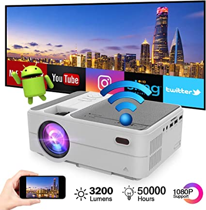Mini Portable Pico Projector 3200 lumens Android 6.0 WiFi Bluetooth Full HD 1080p Video Projector LCD LED Smart Proyector with Airplay Miracast ...