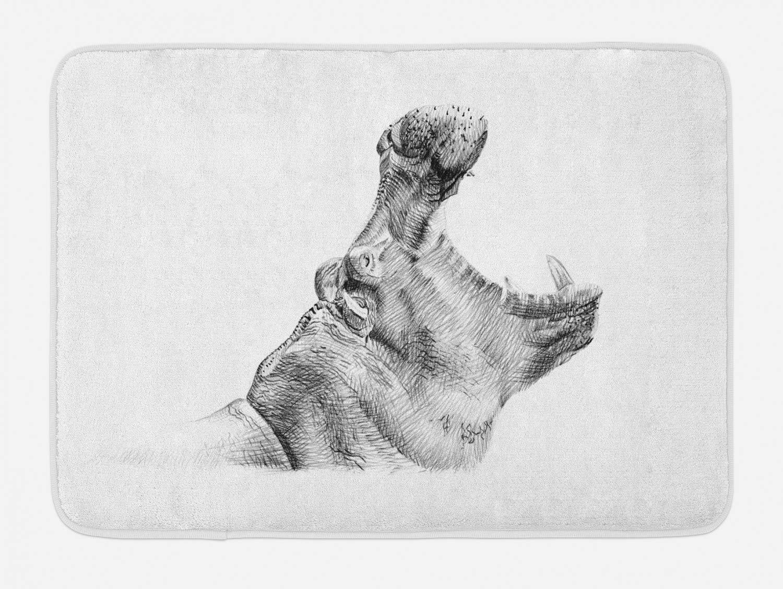 Amazon com ambesonne hippo bath mat hand drawn pencil sketch style