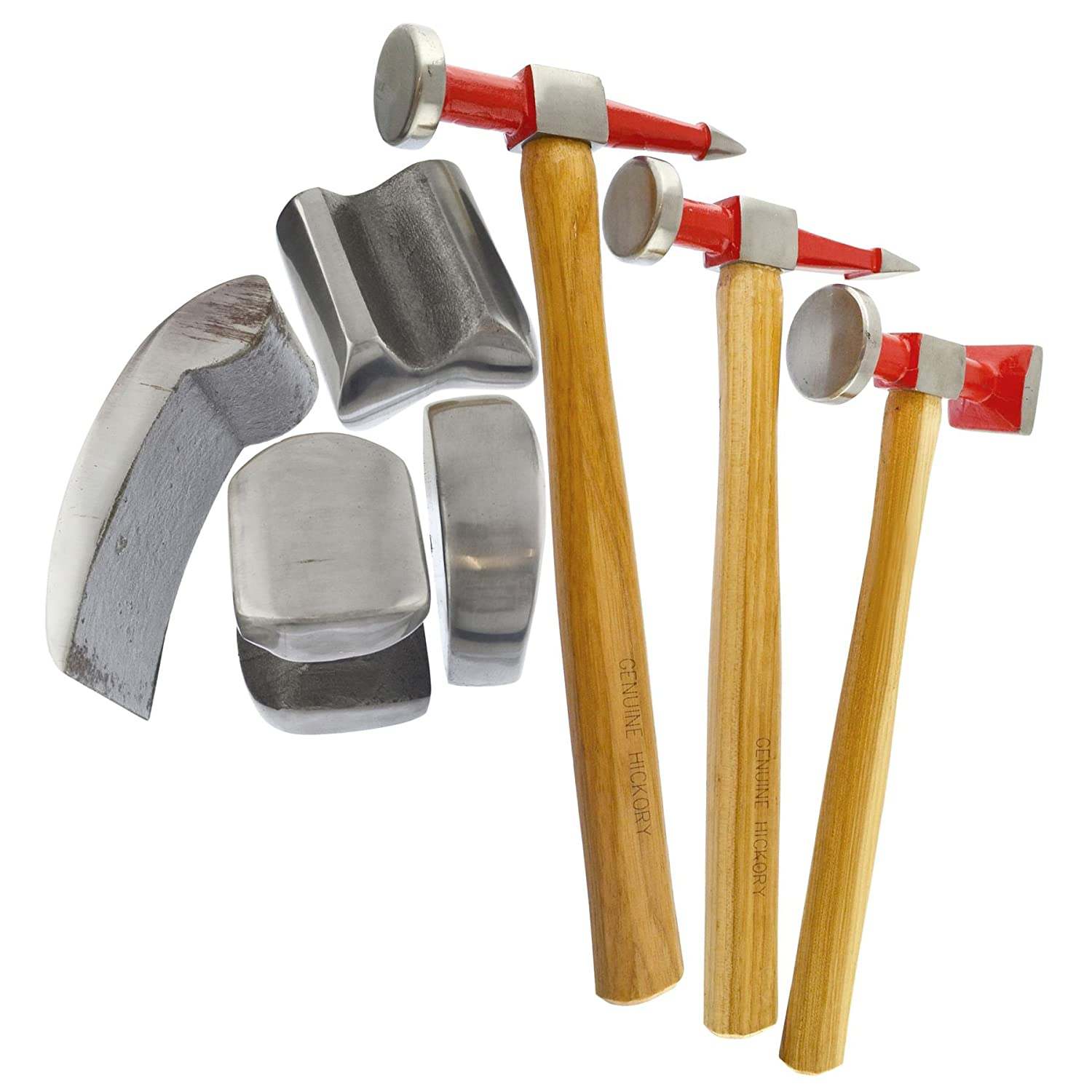 AB Tools-Neilsen Auto Body Repair Kit Panel Beating Hickory Hammers Dollies Shrinking 7pc AN021