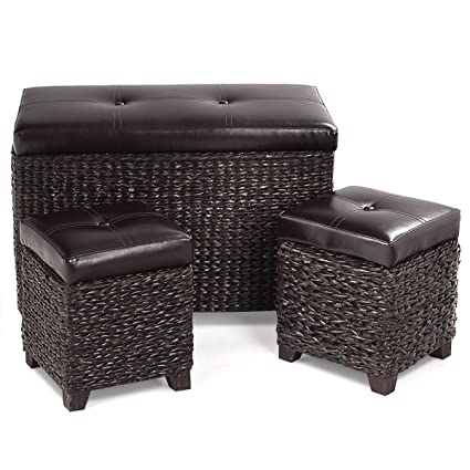 Incredible Giantex 3 Piece Rattan Storage Bench And Ottoman Stools Cubic Storage Hassocks Foot Rest Decoration Furniture Leather Padded Seat Brown 3 Piece Ncnpc Chair Design For Home Ncnpcorg