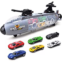 Mumoo Bear Submarine Car Toy Set 7 Pcs Portable Storage Box Mini Sports Car Alloy Car Model Perfect Gift for Kids