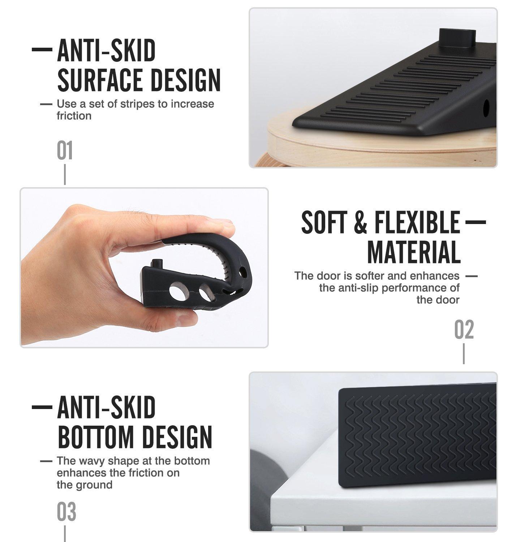 Rubber Door Stopper, Chefic Flexible Door Stop Wedge 4 Pack, Smart Stackable Slip-Resistant Design, 100% Non-Toxic Odorless Doorstop Works Perfectly on Most Floors by Chefic (Image #2)