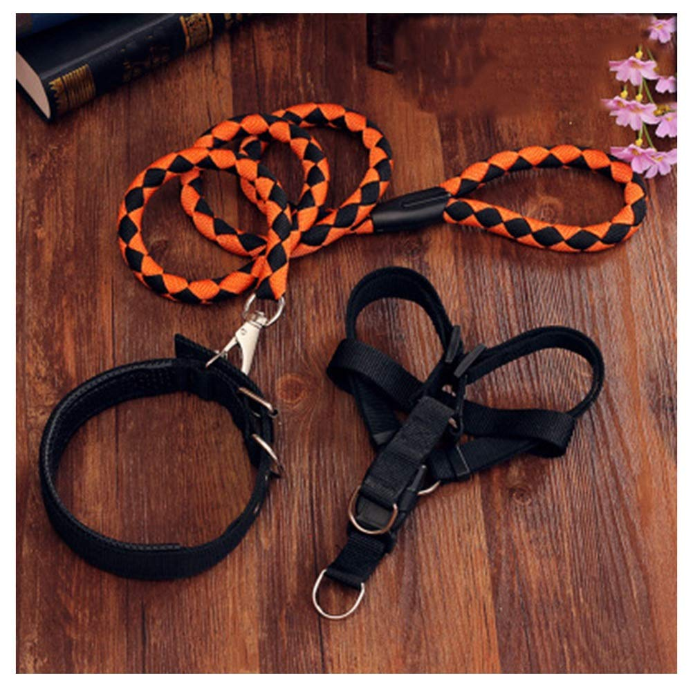 Black orange 6kg-12.5kg Black orange 6kg-12.5kg PANGU-ZC Pet Leash Dog Chain Dog Leash Large Medium Small Dog Chest Strap Hyena Rope Pet Collar Stretchable Dog (color   Black orange, Size   6kg-12.5kg)