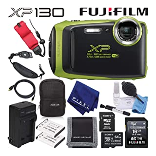 Fujifilm FinePix XP130 Waterproof Digital Camera (Lime) Advanced Accessory Bundle with 64GB Memory Card + Extra Battery + Battery Charger + Floating Wrist Strap