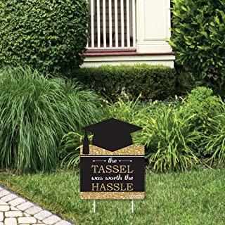 product image for Big Dot of Happiness Gold - Tassel Worth The Hassle - Outdoor Lawn Sign - Graduation Party Yard Sign - 1 Piece