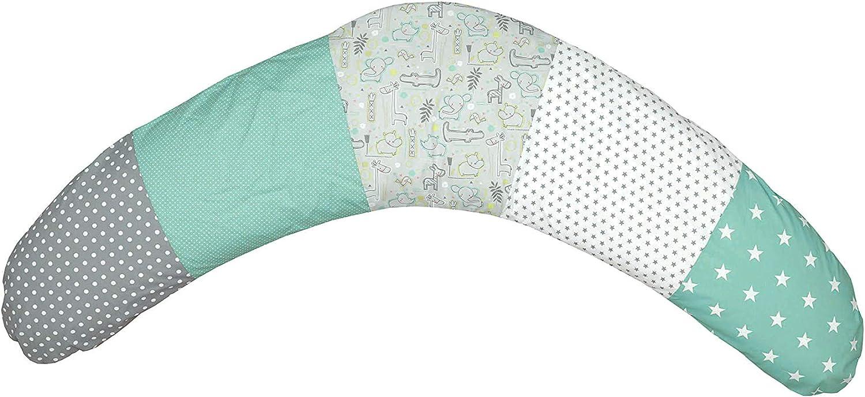 Cojín de lactancia de ULLENBOOM ® safari menta (190x38cm; relleno: bolitas de fibra silenciosas; sirve también de cojín de apoyo, almohada para embarazadas, para dormir de lado)