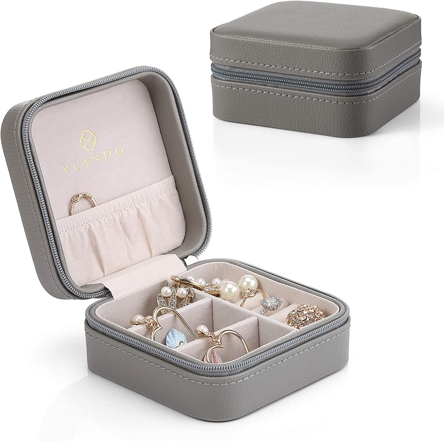 Vlando Travel Jewelry Box Organizer,PU Leather Wooden Small Jewelry Storage Case, Earring, Ring, Necklaces -Best Gifts for Girls Women Ladies (Grey)