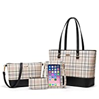 Women Fashion Synthetic Leather Handbags Tote Bag Shoulder Bag Top Handle Satchel Purse Set 4pcs