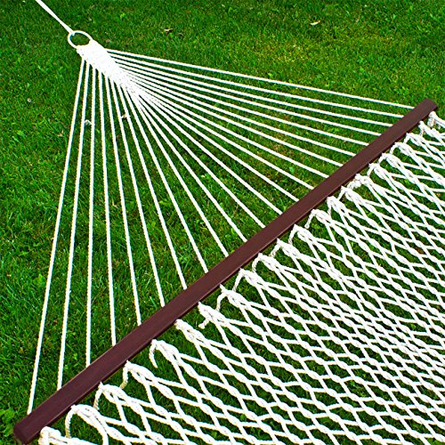 Best Choice Products 2-Person Woven Rope Cotton Double Hammock w/Wooden Spreader Bars and Carrying Case, White