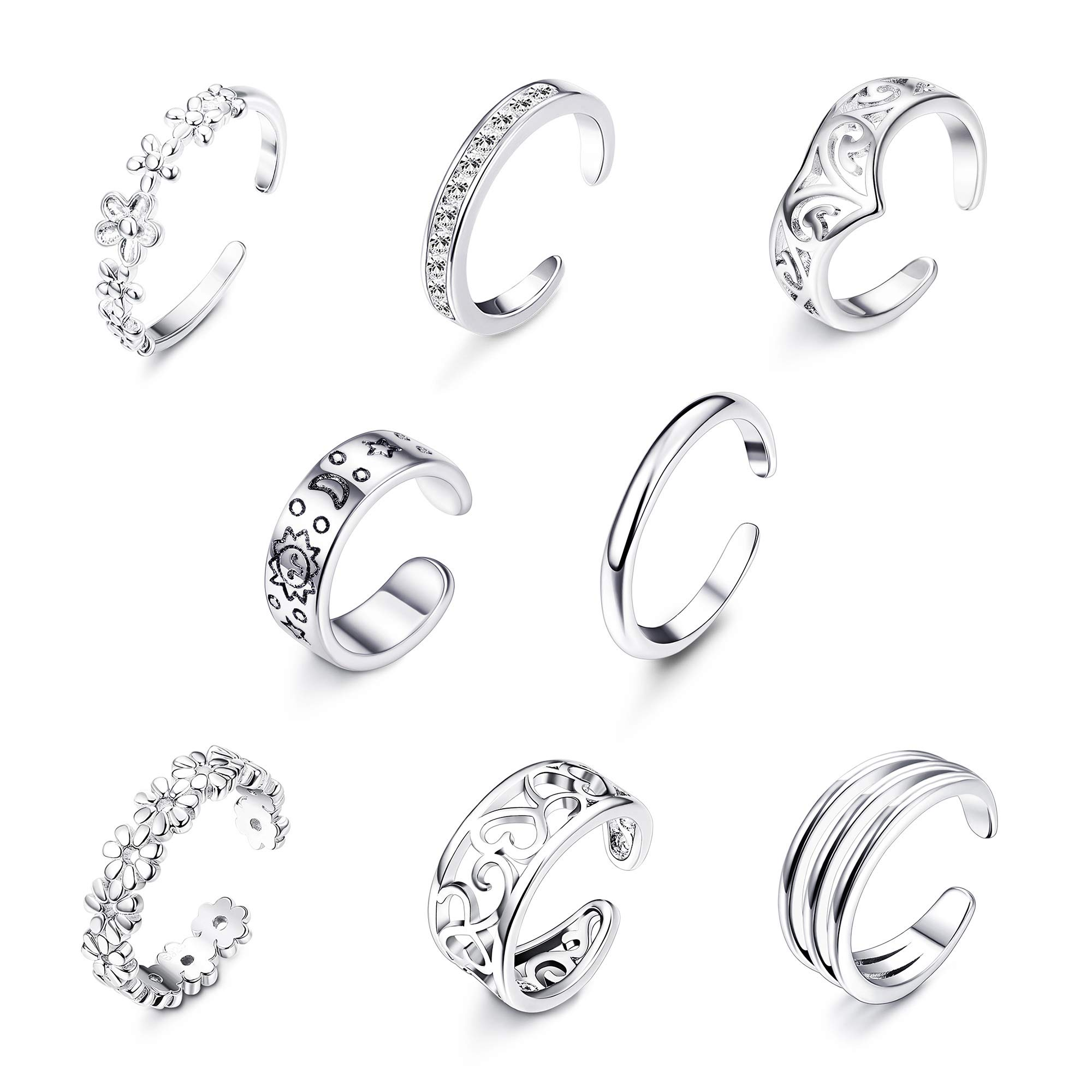Milacolato 8Pcs Adjustable Toe Rings for Women Girls Open Toe Ring Knuckle Ring Set by Milacolato