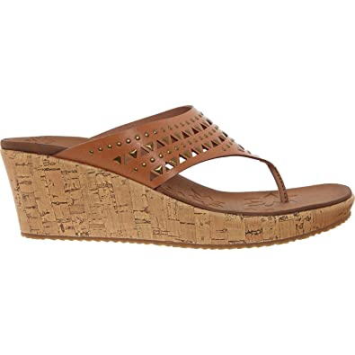 1f36883e411e15 Image Unavailable. Image not available for. Color  Skechers Womens Beverlee  Desert Daisy Wedge Sandal Style Tan