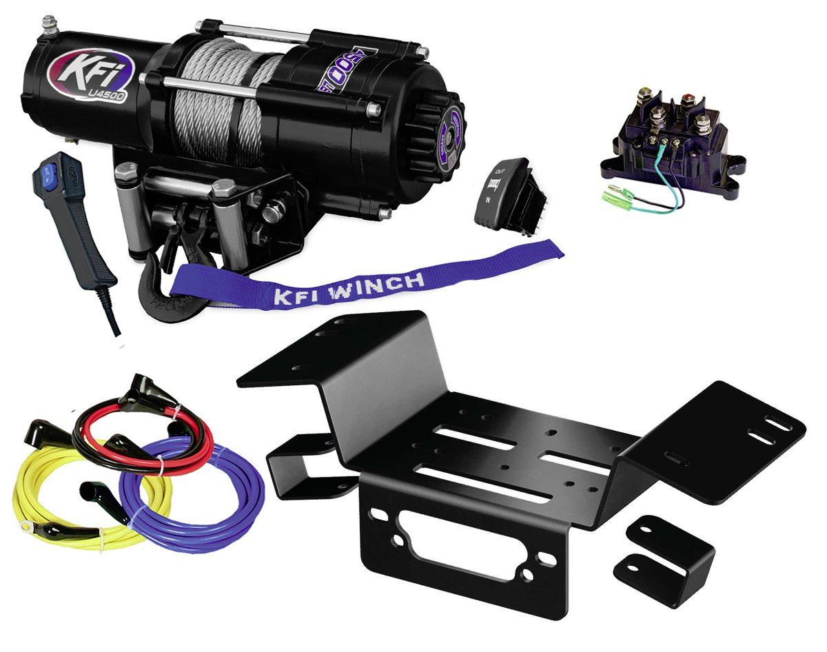 KFI Combo Kit - U45-R2 4500lbs Stealth Winch & Mount Bracket - 2014-2018 Honda Pioneer SXS 700 & SXS 700-4 by KFI Products