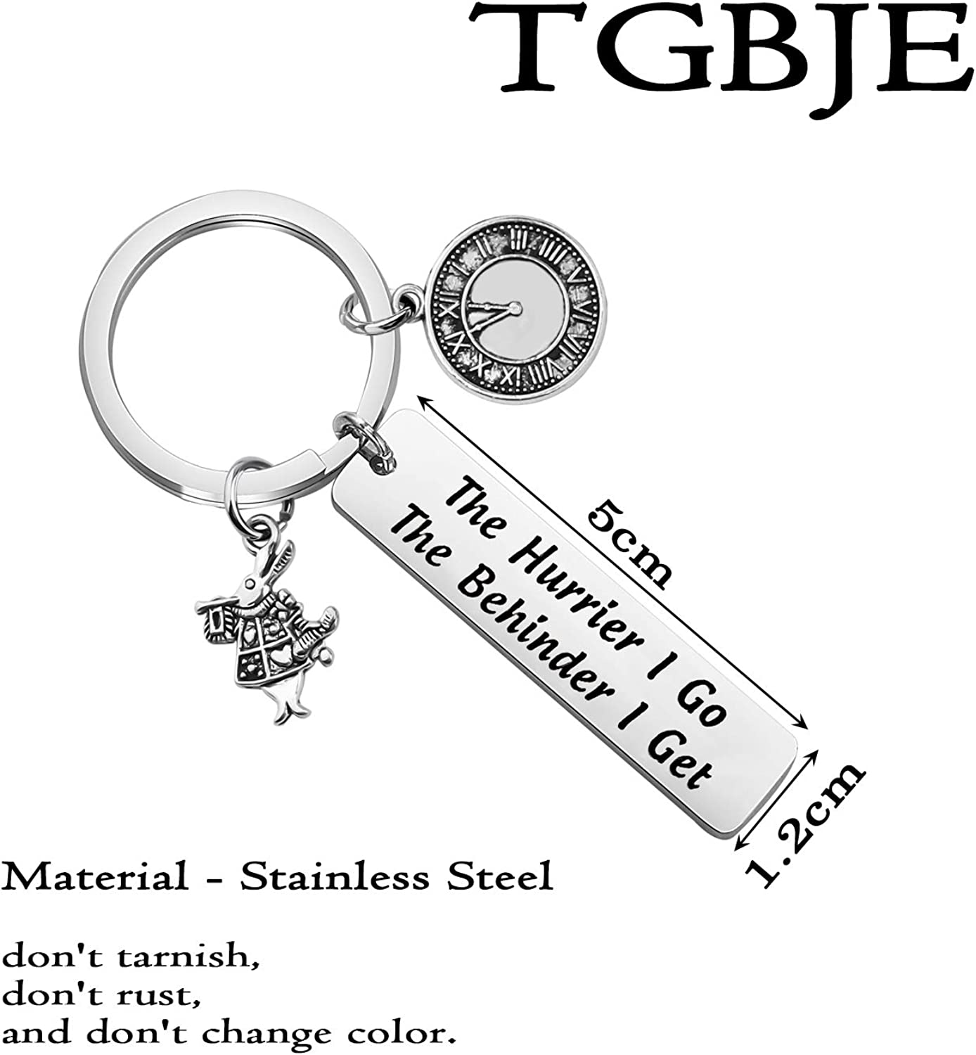 TGBJE Alice in Wonderland Inspired Gift The Hurrier I Go The Behinder I Get Keychain March Hare Charm Gift White Rabbit Clock Gift Rabbit Clock Key