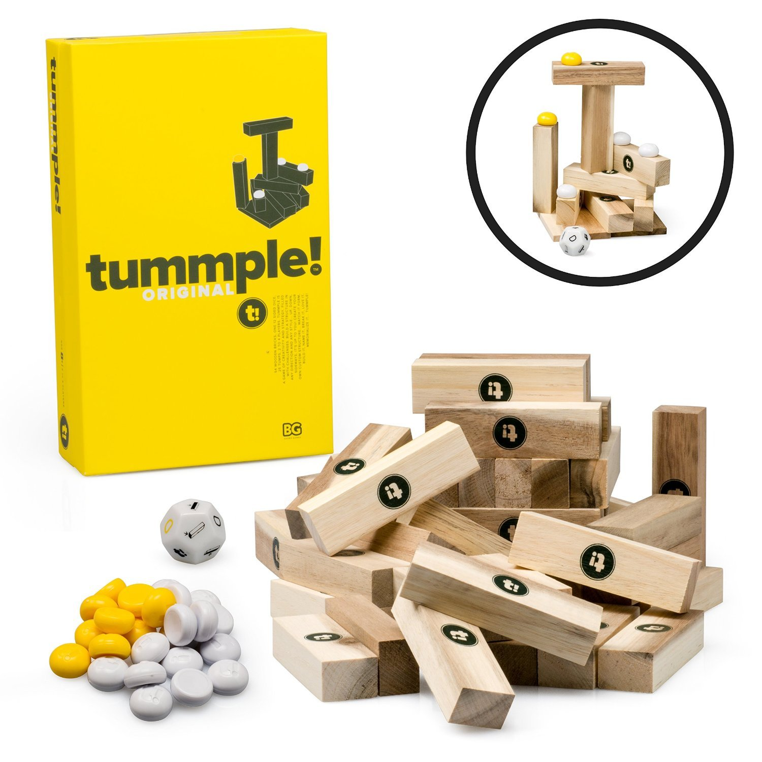 BAXBO Tummple by An Original Wooden Building Block Game (80 Piece Set)