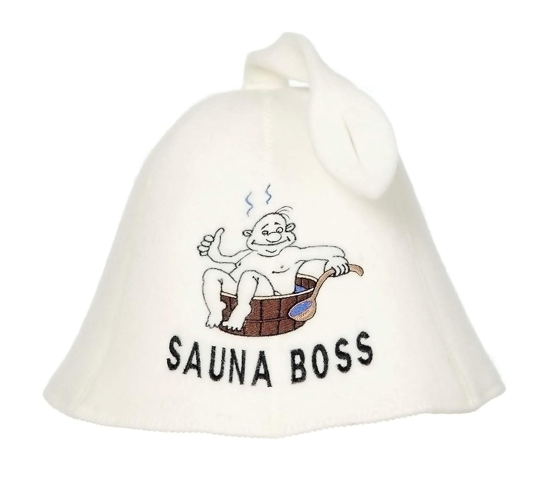 Natural Textile Chapeau de Sauna 'Sauna Boss Bucket' Blanc - 100% chapeaux en feutre de laine biologique - Protégez votre tête de la chaleur - Guide ebook incluse pour sauna en anglais