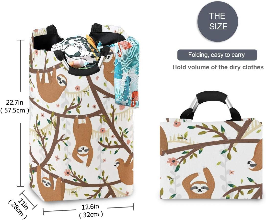 Unimagic Collapsible Laundry Basket Cartoon Animal Funny Sloth Laundry Hamper Large Cloth Hamper Laundry Organizer Holder with Handle