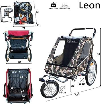 PAPILIOSHOP LEON Remorque à vélo poussette chariot pour 1 ou 2 entants: Amazon.es: Deportes y aire libre