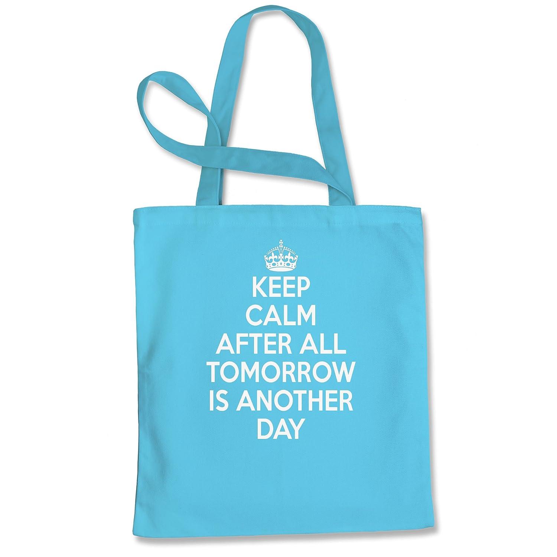 エクスプレッションTシャツKeep Calm, Tomorrow is Another Dayショッピングトートバッグ B073WL16ZS スカイブルー L