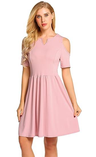69906b3717d75 POGTMM Women's Casual Summer V Neck Short Sleeve Dresses Cold Shoulder  Pleated A-line Skater Dress