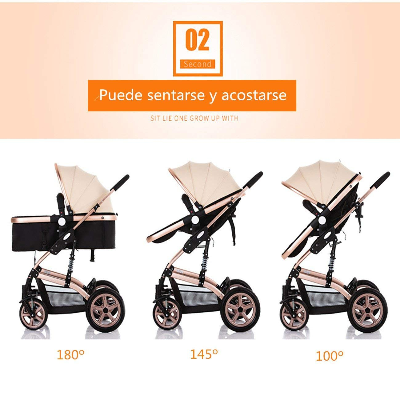 HGYG B/éb/é Poussette Haute Paysage Peut sasseoir inclinable bidirectionnel Portable Pliant BB landaus /à Quatre Roues Buggy Chariot