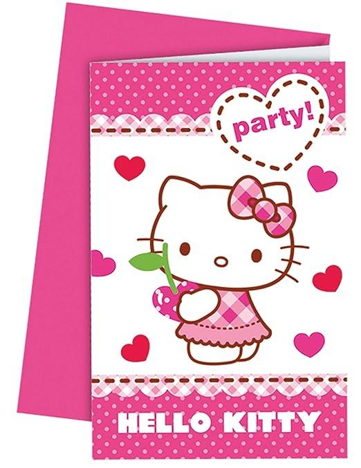 Tarjetas Invitaciones Hello Kitty Amazon Es Hogar