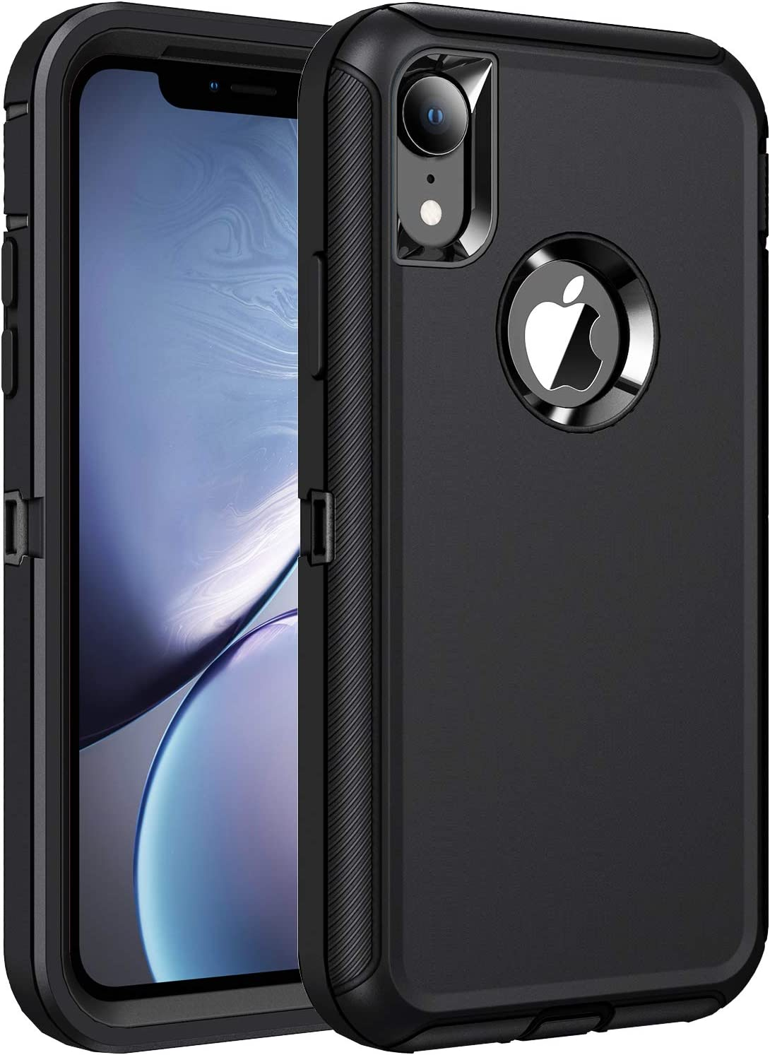 RegSun for iPhone XR Case,Shockproof 3-Layer Full Body Protection [Without Screen Protector] Rugged Heavy Duty High Impact Hard Cover Case for iPhone XR 6.1-inch,Black