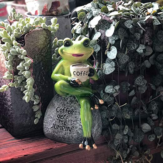Sungmor Sentado Beber Café Rana Estatua Decoración de jardín/Resina ecológica Escultura de Animales para jardín Balcón Patio/Interesante Imagen de Animal Gracioso Decoración llamativa para el: Amazon.es: Hogar