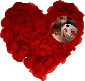 Red Rose Petals for Romantic Night, Premium Fake Rose Petals for Valentines Day Decor Room Wedding 1000 Pcs Chram Moi
