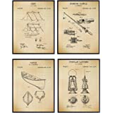 Summer Camping Patent Art Prints - Vintage Wall Art Poster Set - Chic Rustic Farmhouse Home Decor for Adirondack or Lake Hous