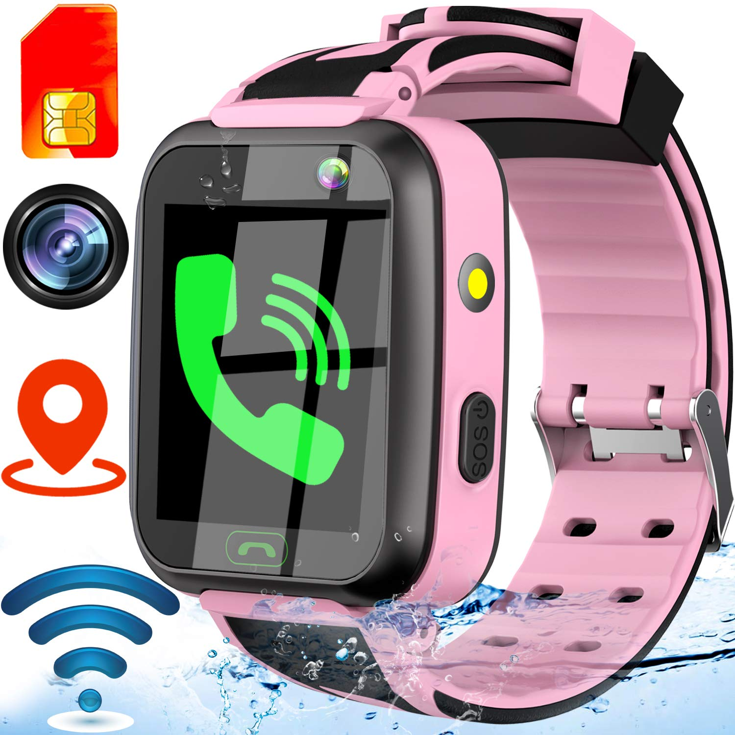 [SIM Card Include] Kids Smart Watch-Upgrade Real GPS Tracker Waterproof WiFi Smart Watch Phone for Boys Girls with Fitness Tracker Pedometer Camera Alarm Clock Kids Back to School Gifts (Pink) by GBD (Image #1)