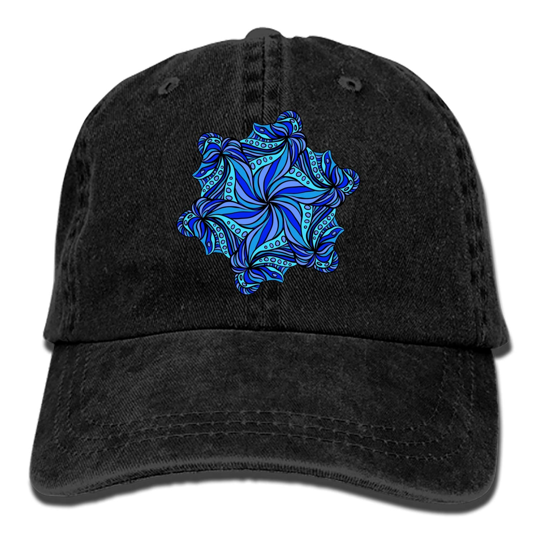 SHUANGRENDE Blue-Hexagonal-Flora Vintage Adjustable Jean Cap Gym Caps for Adult