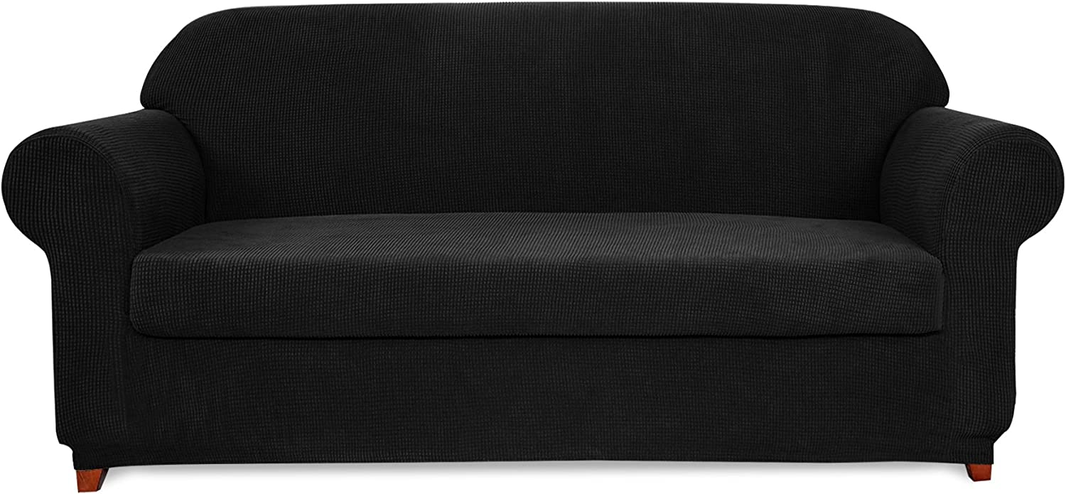 Subrtex 2-Piece Jacquard High Stretch Slipcover Furniture Protector for Settee Spandex Washable 3 Seater Cushion Couch Cover Coat (Sofa, Black)