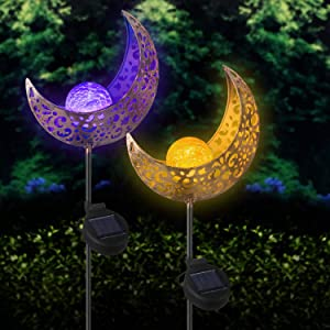 Beinhome 2 Pack Garden Solar Lights Moon Decor Crackle Glass Ball Metal Stake, 1 Warm White Light and 1 Multicolor Changing LED Globe Light for Yard, Lawn, Pathway, Patio