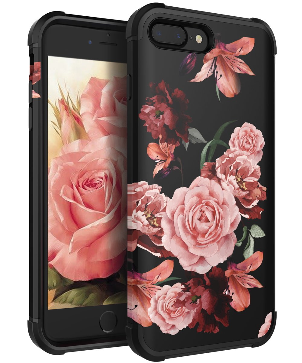 new styles e2c79 250da KapCase Case for iPhone 8 Plus,Case for iPhone 7 Plus Cute Flower for  Girls/Women Slim Fit Dual Layer Protection TPU and Plastic Hybrid Floral  Case ...
