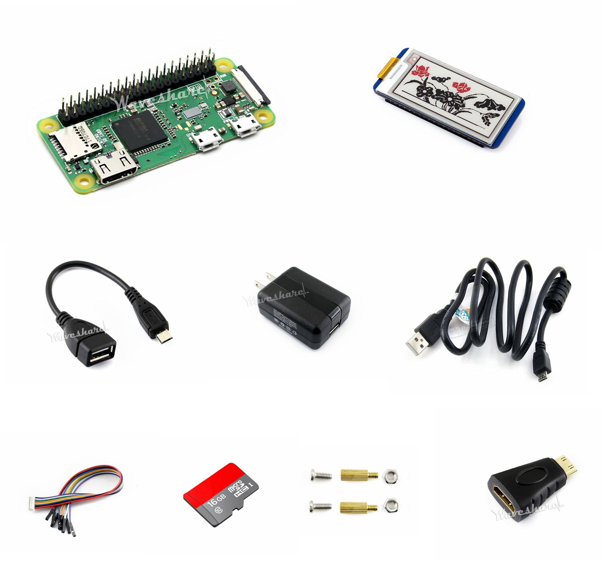 Development Kit Basic Components@Pzsmocn Raspberry Pi Zero WH,with built-in WiFi,Bluetooth,pre-soldered GPIO Headers.16GB Micro SD Card,Power Adapter,2.13inch e-Paper HAT,three-color e-ink Display. by Pzsmocn
