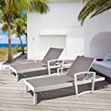 Outdoor Aluminum Chaise Lounge Chair Pack of 1, All Weather Resistant Patio Beach Adjustable Reclining Chair