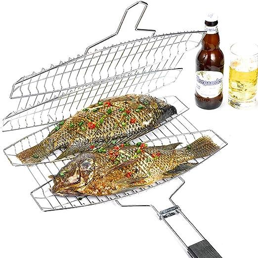 para Pescado a la Parrilla y esp/átula para Pescado Soporte Cesta,Accesorios De Barbacoa JANRON Barbacoa Parrilla Pescado Pez rejillaAcero Inoxidable con Mango Madera para fre/ír Pescado