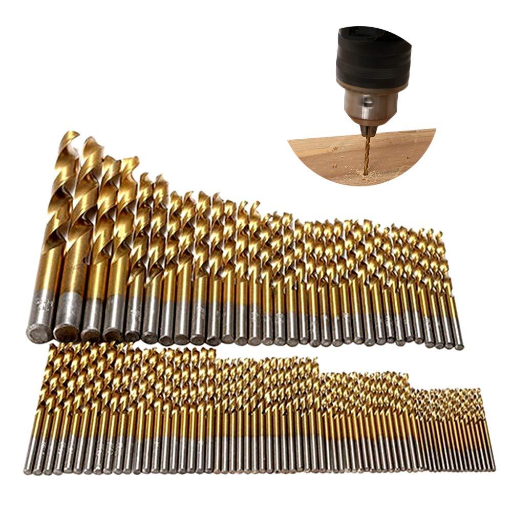 Tian Metallbohrer Set 99tlg HSS-TiN Spiralbohrer Handspiralbohrer Stahlbohrer 1.5mm -10mm DIN 338 Geschliffene Titannitrierte zylinderischer Schaft HSS Metall Bohrer
