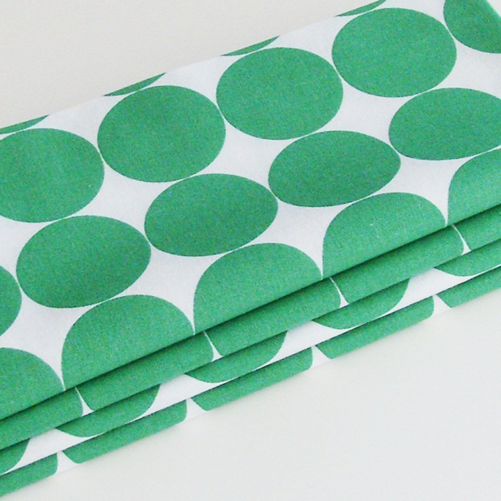 Set of 4 White and Kelly Green Circles Cotton Napkins ME2Designs Handmade Table Decor