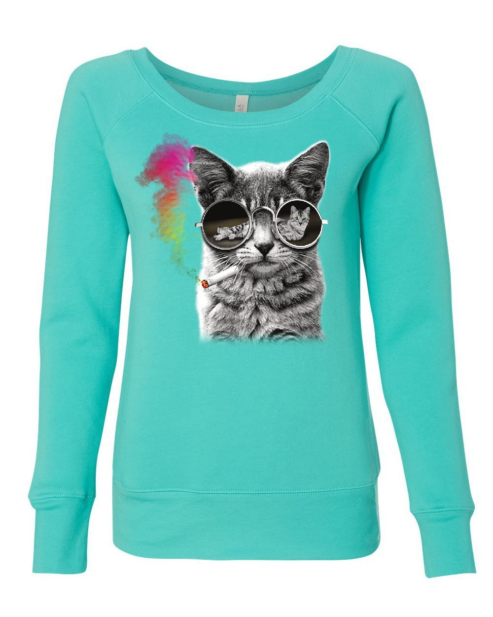 Tee Hunt Smoking Cat With Glasses Women's Sweatshirt Cool Trippy Groovy Rainbow 420 Teal XL
