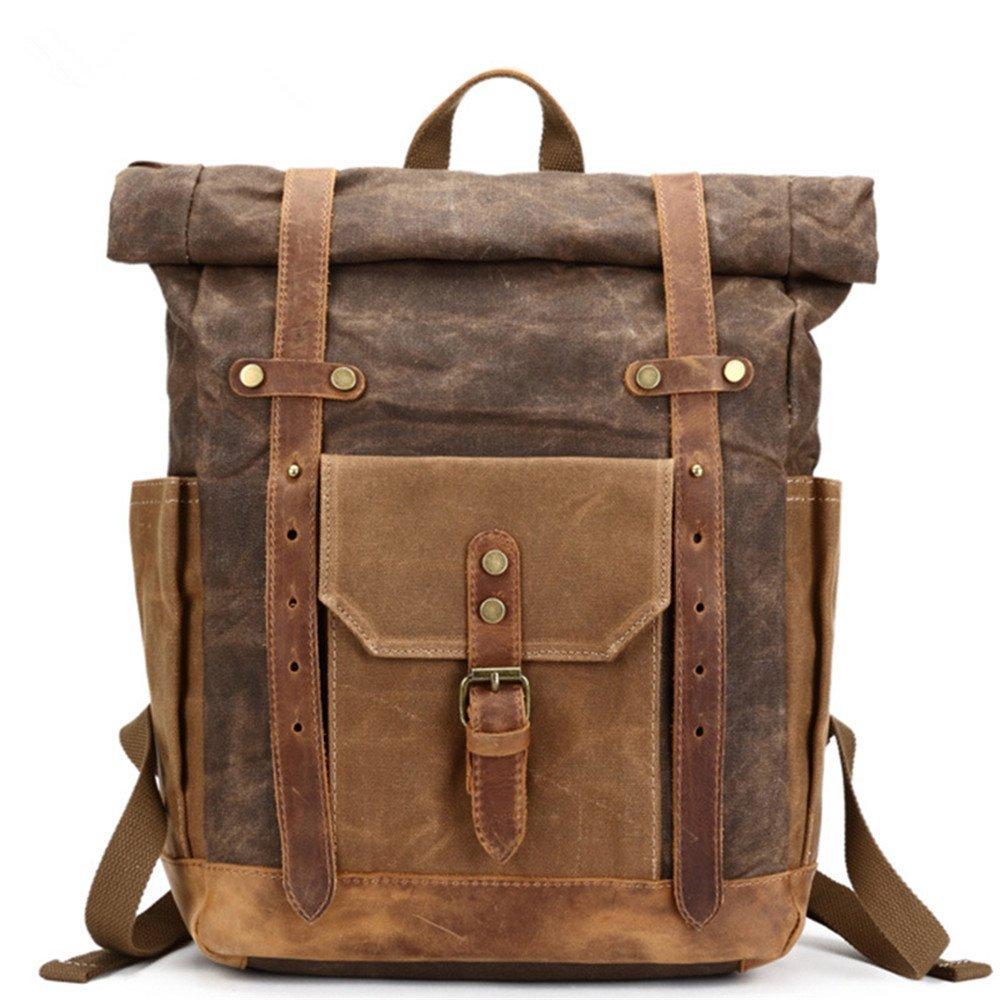 Sac en tissu Portable Sac à dos étanche à l'huile Cire Sac de voyage pour homme Sac à dos Cuir Vintage Sac en toile, Marron XIAODIU