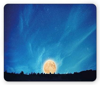 Blue Sky Full Moon But Not Blue Moon >> Amazon Com Dark Blue Mouse Pad Full Moon Rising Night Majestic