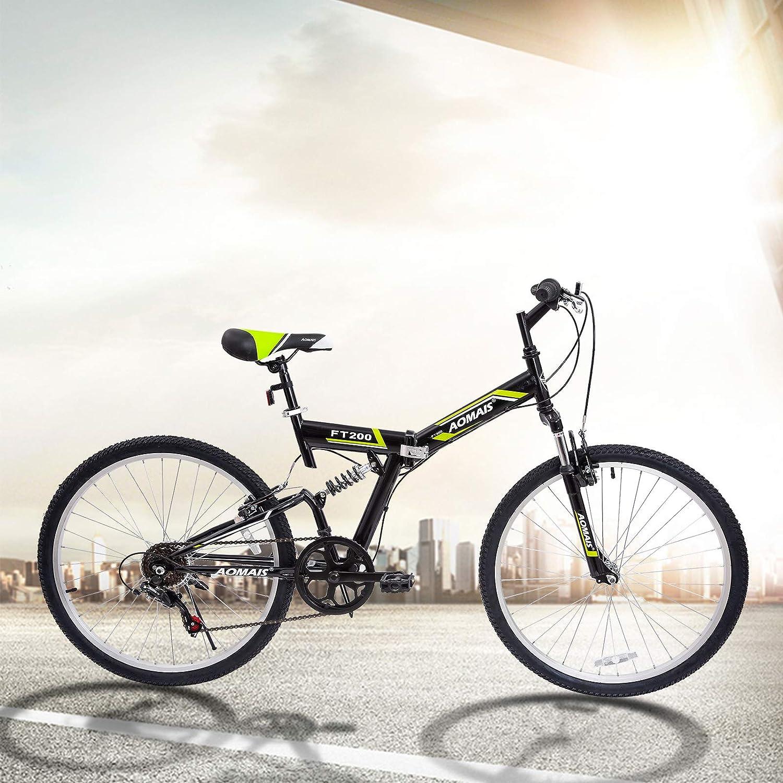 Amazon.com : Murtisol Folding Bikes 26 Mountain Bikes Mens and Womens Bikes 7 Speeds Full Suspension Shimano Derailleur Adjustable Seat (Black & Green) ...