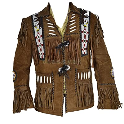 Classyak Men/'s Western Cowboy Fringed Motokit Suede Leather Jacket