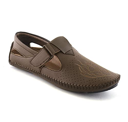 67ac655ea2c08e OXPAL Men's Brown Synthetic Sandals (7), Loafer Shoes for Mens, Sandals for