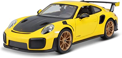 Amazon Com Maisto Porsche 911 Gt2 Rs Yellow With Carbon Hood 1 24 Diecast Model Car 31523 Toys Games