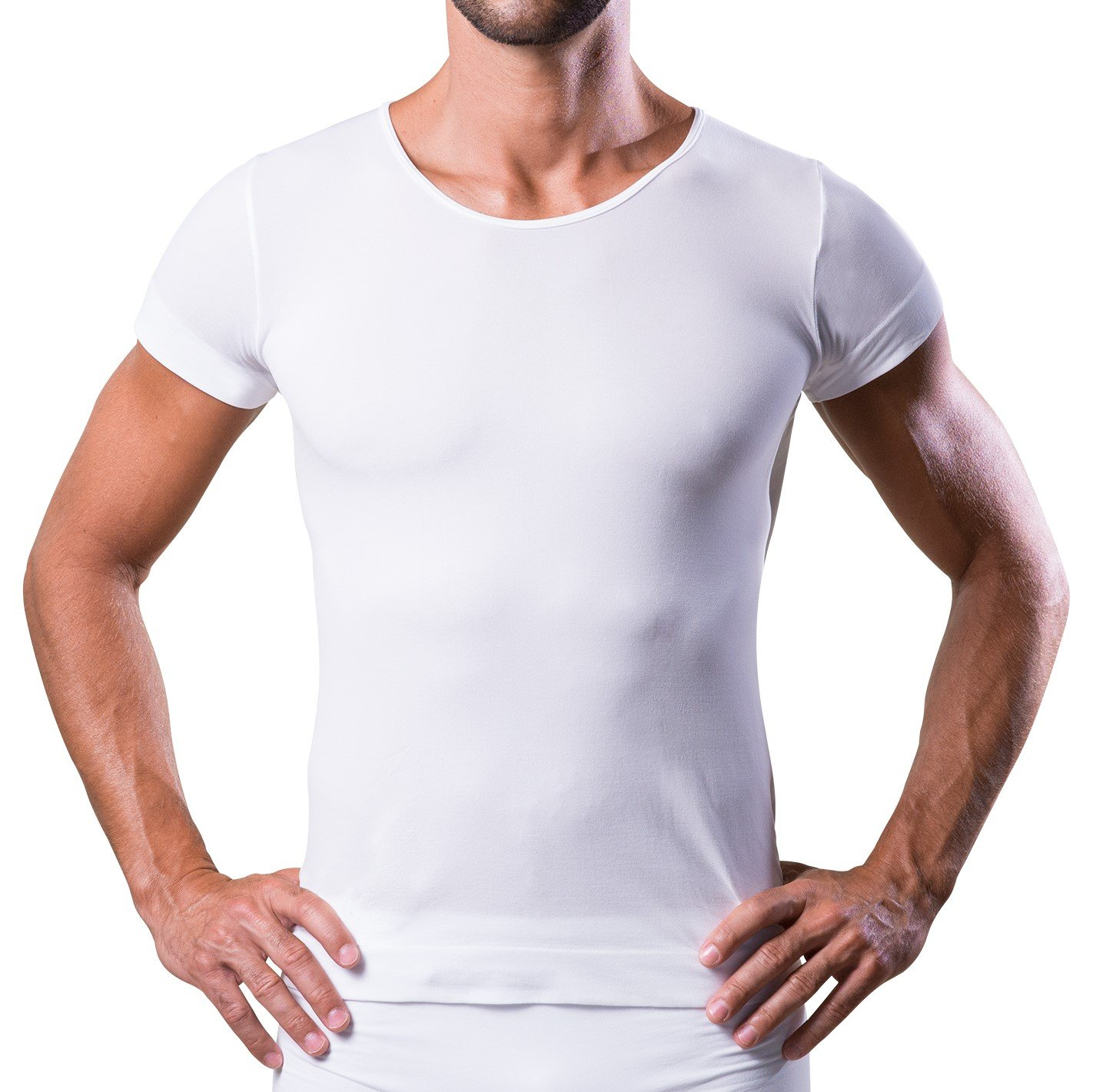 T-DRY men's undershirts invisible and breathable seamless business t-shirt, White, Small