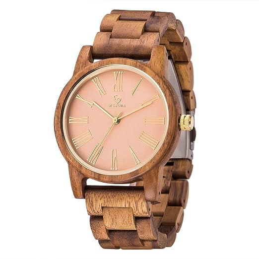 Reloj Mujer,MUJUZE Relojes de Cuarzo Natural Madera Caso Reloj de Mujer de Madera con Oro Rosa Cara y Marrón Correa de Reloj(Madera de Acacia): Amazon.es: ...