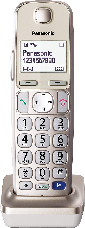 Panasonic KX-TGEA20EXN- Teléfono Supletorio Inalámbrico (LCD Grande, Teclas Grandes, Agenda de 100 Números, Bloqueo de Llamadas, Modo ECO, Compatible con Audífonos) - Color Champán