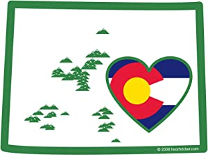 Colorado Sticker Heart in Colorado State Map Shaped Decal Colorado State Flag Heart Mountain Sticker Apply Water Bottle Laptop Mug Bumper 303